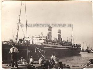 """30 Juli 1947, vertrek uit Rotterdam met de """"Volendam"""""""